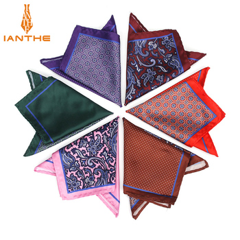 Men's Brand Handkerchief Vintage Paisley Dot Solid Pocket Square Soft Silk Hankies Wedding Party Colorful Hanky Chest Towel Gift