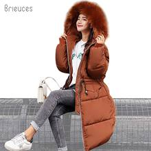 Brieuces 2018 New Fashion Long Parkas Winter Jacket Women Coat Adjustable Waist Thicken Down Cotton Hooded Fur Female Clothing new parkas mujer 2018 fashion long thicken 100