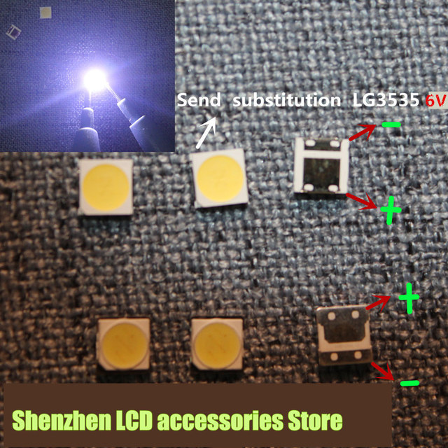 Smd led 대신 200 개/몫 tv/lcd 백라이트 용 lg 3535 6 v 냉 백색 2 w