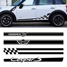 Автомобильная Боковая дверь стикер тело талия юбка наклейки отделка для Mini Cooper S JCW R53 R55 R56 R57 R58 R59 R60 F54 F55 F56 F60 аксессуары