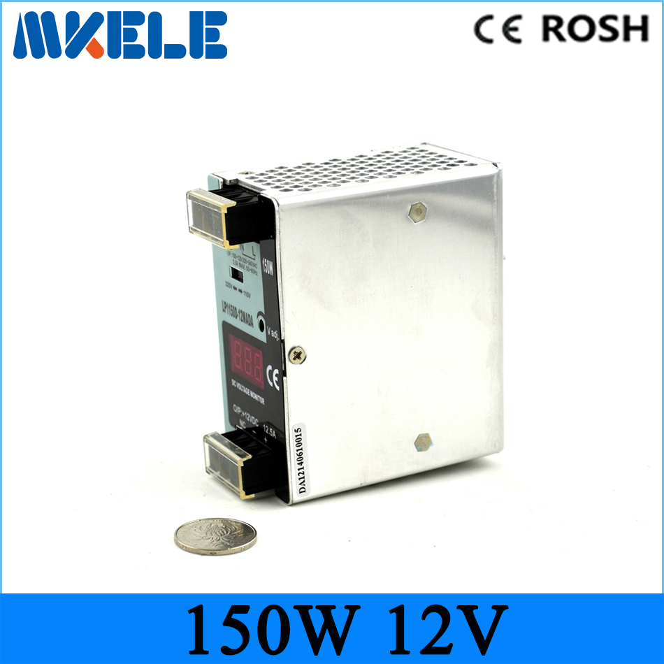 Free Shipping CE RoHS Certificated 12v LP-150-12 150w 12.5A digital monitor din rail switching power supply For Industry