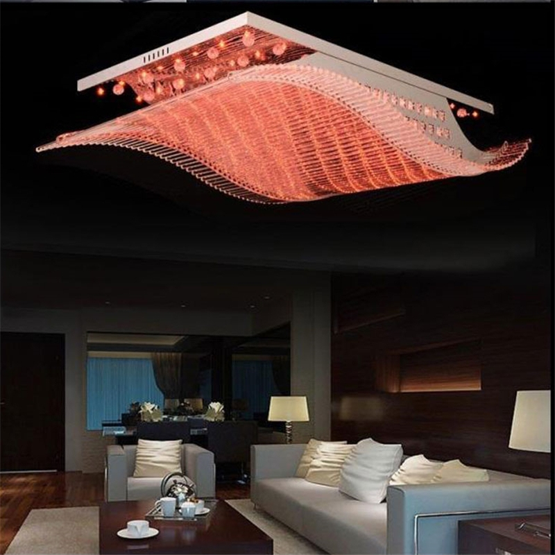 Wonderland zdalne sterowanie zmiana światła 4 kolor nowoczesny kryształ led żelaza lampy sufitowe Lustre lampa dla domu salon PLL-700