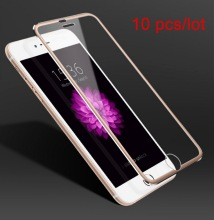 10pcs/lot 3D full cover for iPhone 7 6 6S Plus Tempered Glass Screen Protector Film case 0.26mm Aluminum alloy edge
