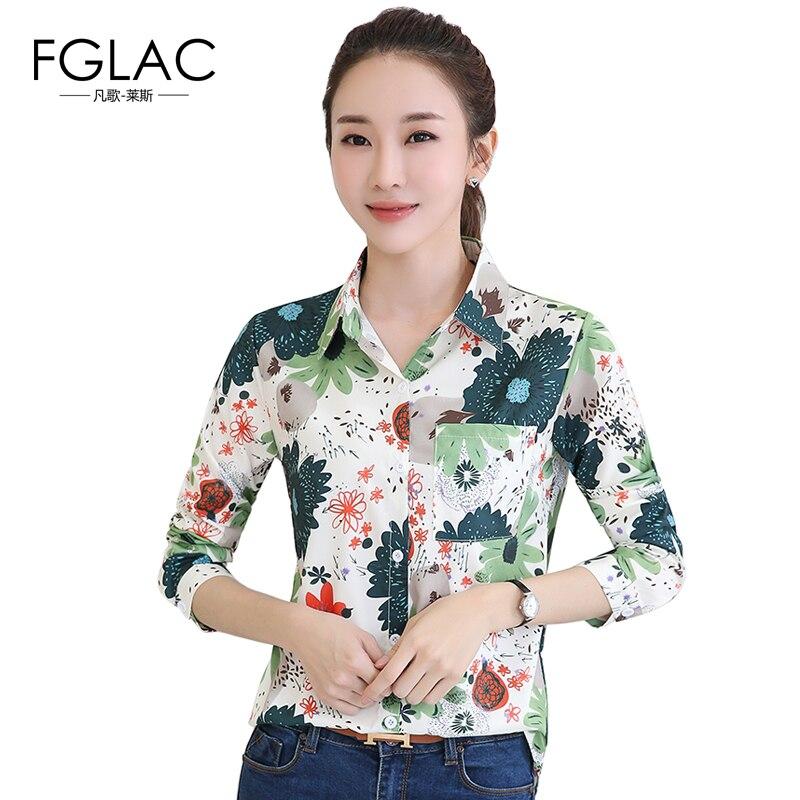 FGLAC gasa de Las Mujeres camisa de Moda Casual camisa de estampado de manga lar
