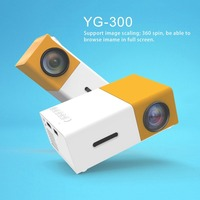 YG300 Professional Mini Projector Full HD1080P Home Theater LED Projector LCD Video Media Player Projector Yellow & White US
