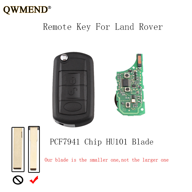 QWMEND 5pcs 3BT 433Mhz Car Complete Remote key Fob For Land Rover Discovery 3 LR3 Flip