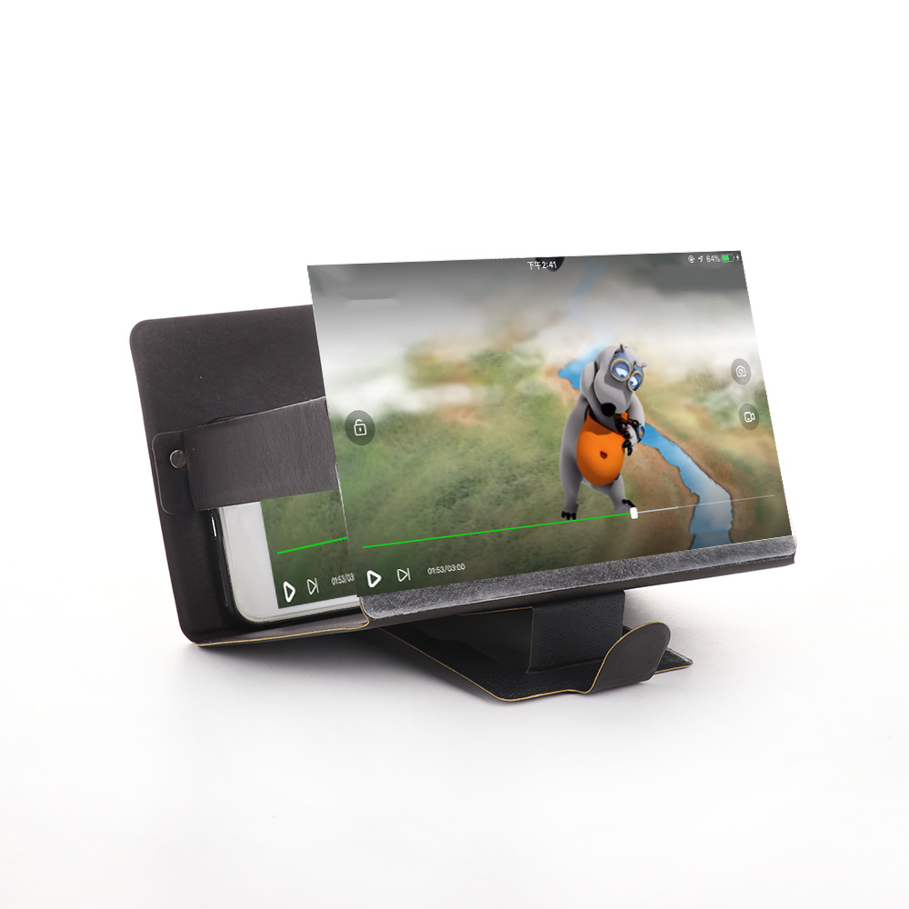 Phone Holder 3D Phone Screen Magnifier Stereoscopic Amplifying Desktop Foldable Leather Bracket Mobile Holder Tablet Holder