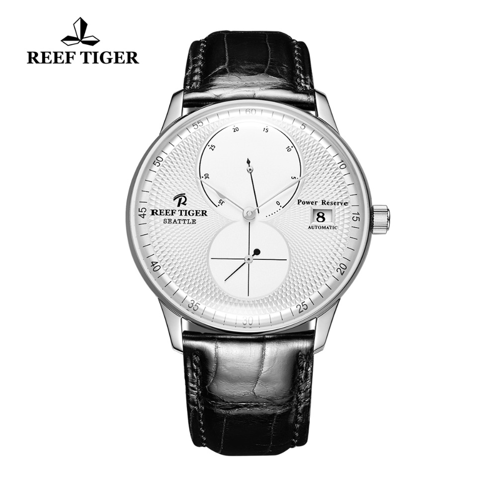 Reef Tiger/RT Designer Watches for Men Luxury Automatic Watches Steel Brown Leather Strap Watches Relogio Masculino RGA82B0