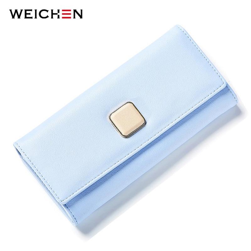 WEICHEN Brand Designer Women Long Wallet Hasp Soild Ladies Money Purse Phone Coin Pocket Fashion Female Clutch Wallets