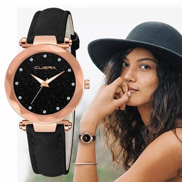 Luxury Brand Ladies Watch Star Sky Diamond Dial Women Bracelet Watches Magnetic