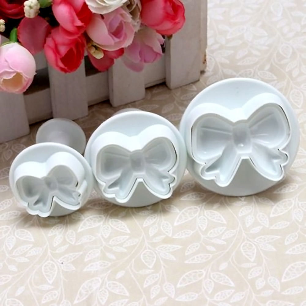 3pc Bow Shape Plunger Cookie Cutters Cake Biscuits Pastry Fondant Chocolate Decorating DIY Kitchen Baking Tools