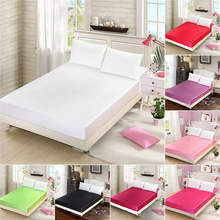 Home Textile Satin Silk Fitted Sheet Solid Color 19mm Seamless Solid Color Queen Size Bed Sheet 16 Color Avaliable 23