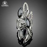 AZORA Novelty Big Size Hollow Design With Marquise Black Stellux Austrian Crystals Finger Rings TR0184