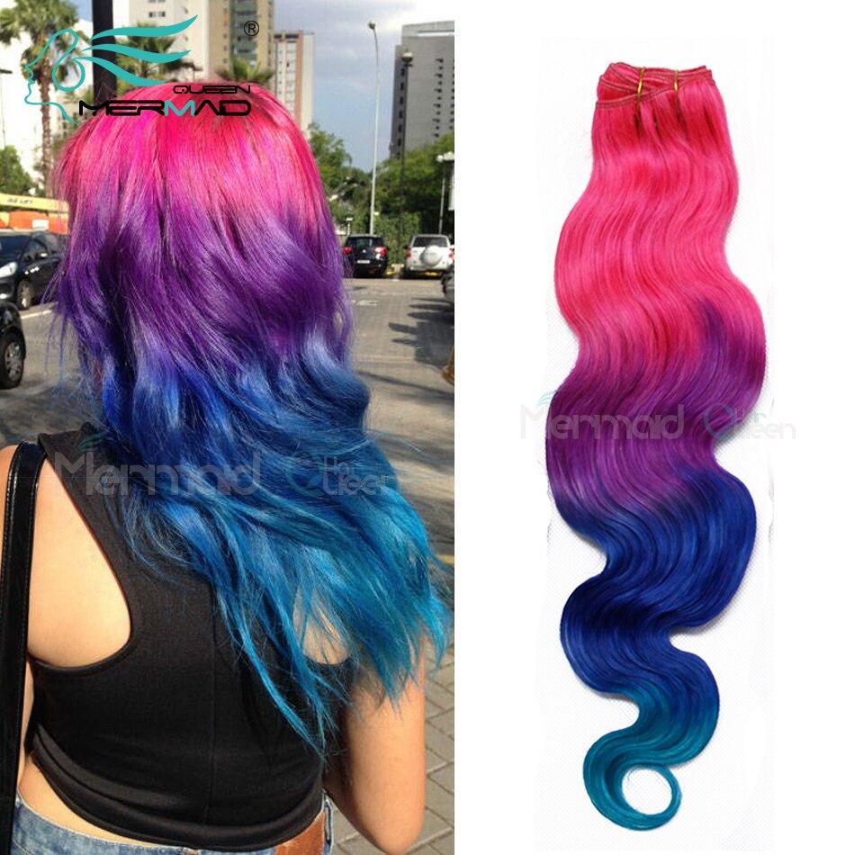 Us 21684 Meerjungfrau Queen Hair Beste 7a Ombre Brasilianisches Haar Körperwelle 4 Ton Ombre Rosalilablaugrün 100 Menschliche Haarwebart