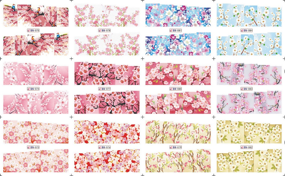 12 PACK/ LOT  WATER DECAL NAIL ART NAIL STICKER FULL COVER FLORAL PATTERN VIOLET AZALEA ORCHIS BN073-084 12 pack lot water decal nail art nail sticker full cover christmas xmas santa clause deer bn229 240