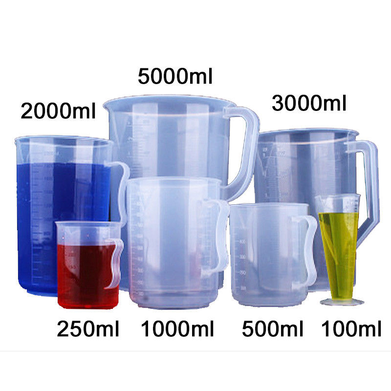 250ml-5000ml Laboratory Experiment Plastic Beaker W/Measuring Cup Graduated Transparent Heat-resistant Supplies Full Set Kits