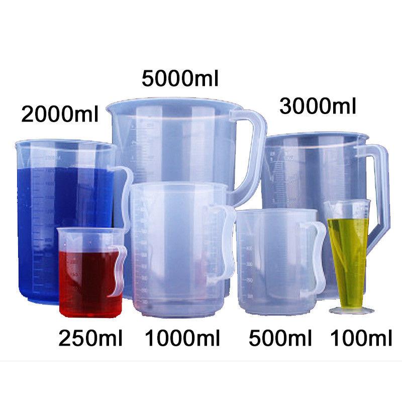 250ml-5000ml Laboratory Experiment Plastic Beaker W/Measuring Cup Graduated Transparent Heat-resistant Supplies Full Set Kits