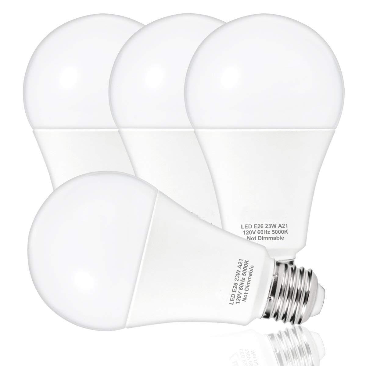 Светодиодный лампы 150 Вт-200 Вт лампочки эквивалент 23 Вт A21 светодиодный лампы <font><b>2500</b></font> люмен дневной 5000 К e26 основа для домашнего освещения (набор из&#8230;