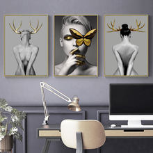 Modern style wall canvas printed painting living room decoration pictures deer girl art poster and prints home decor DYS116(China)