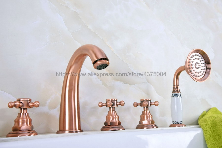 Antique Red Copper Deck Mounted 5PCS Bathroom Faucet Bathtub Basin Tap Cold Hot Water taps With Three Handles Ntf240 Bathtub Faucets    - title=