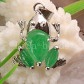 Free Shipping New New without tags Fashion Jewelry 19X23MM Frog Natural Green Jade Pendant 1Pcs RK017