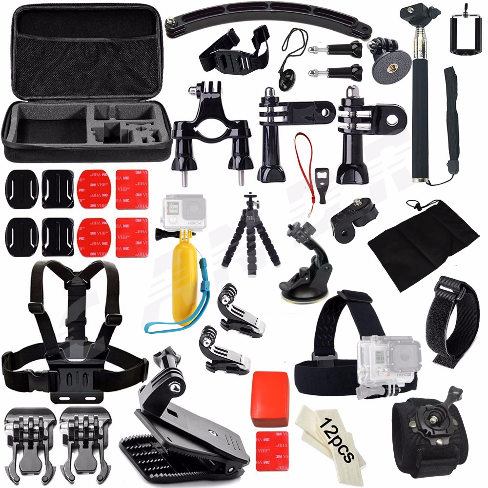 Action Camera Accessories Set Kit for Gopro hero 4 5 xiaomi yi 4K Chest Clamp Hand Mount Large Bag For Go pro SJCAM SJ4000 gopro accessories head belt strap mount adjustable elastic for gopro hero 4 3 2 1 sjcam xiaomi yi camera vp202 free shipping