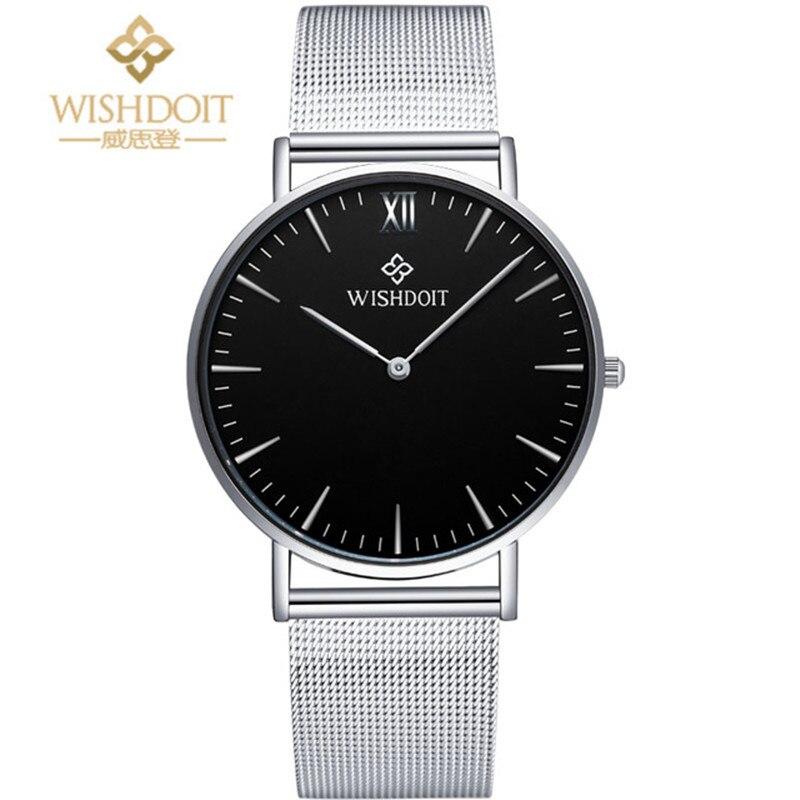 2017 New Famous Brand WISHDOIT Gold Casual Geneva Quartz Watch Men Mesh Stainless Steel XFCS Male Clock Relogio Masculino Gift
