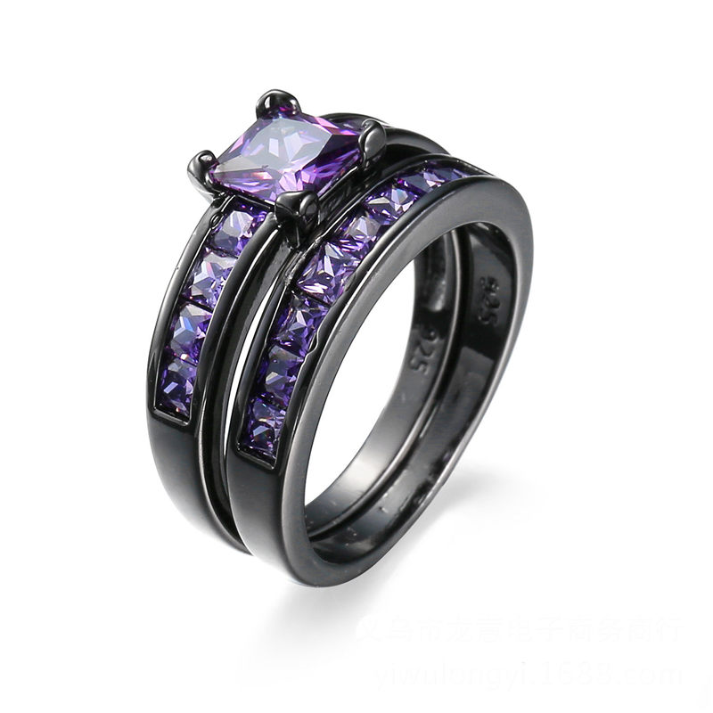 High quality new fashion women jewelry purple zircon ring ...
