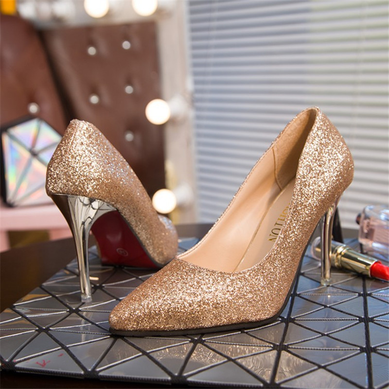 Detail Feedback Questions about low heels high shoes yellow women crystal  pums womens round kitten gold wedding silver liangpian woman rivet square  toes on ... 730fa38a181b