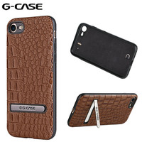 GCASE Crocodile Pattern Stand Holder Luxury Leather Hard Back Phone Cover For IPhone 7 Plus Case