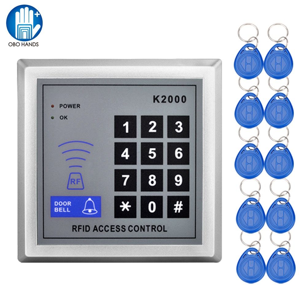Door Access Control Keypad 125KHz RFID ID Cards Proximity Reader with 10 Keyfobs for Home Offices Security System entry door reader keypad rfid proximity access control system 10 id keyfobs door lock opener for home office security