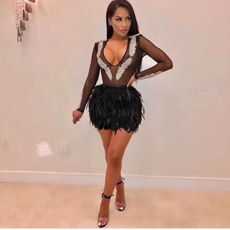 b6193a4acfb wholesale 2019 New dresses black feather V-neck V-neck Sexy perspective  celebrity cocktail Party bandage Dress(L2731)