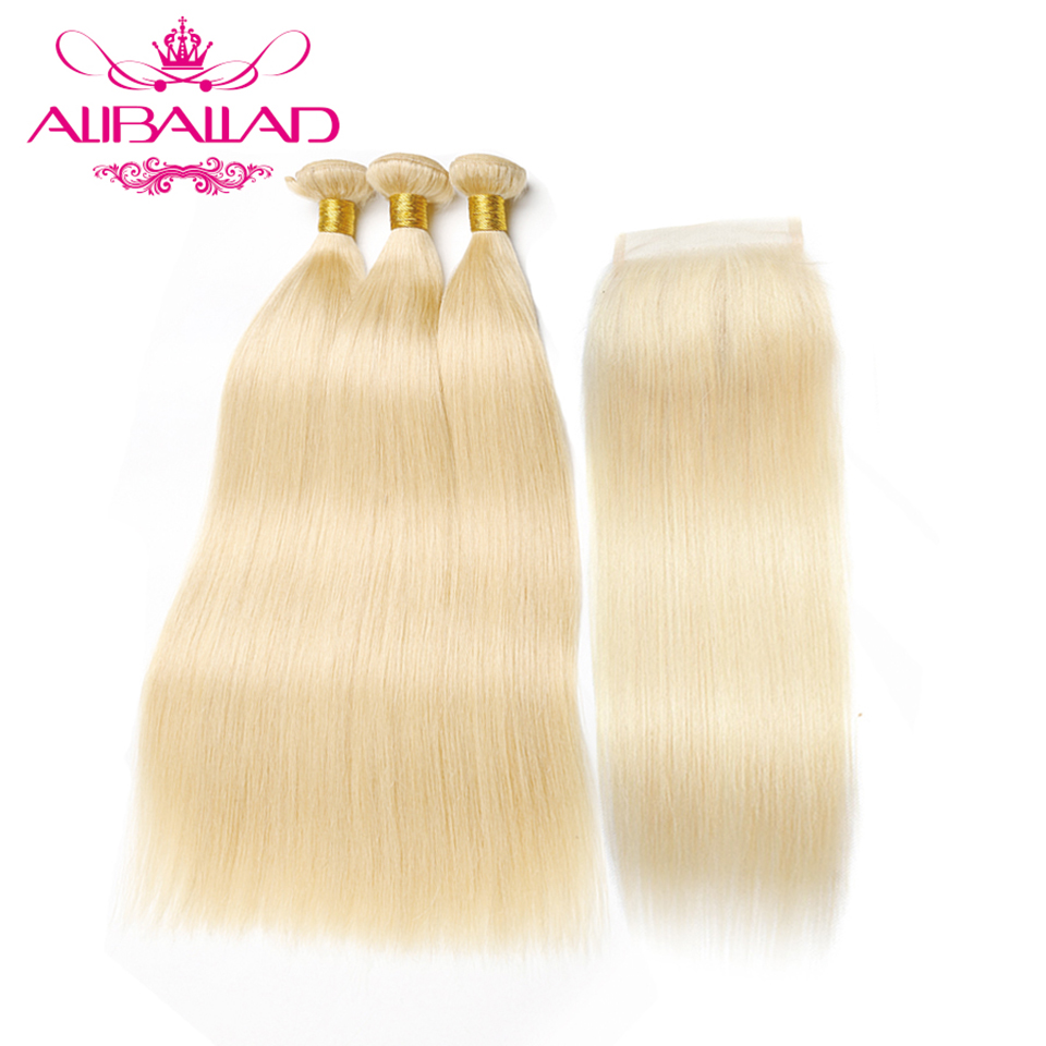 613 Bundles With Closure Brazilian Straight Remy Human Hair Honey Blonde Bundles With Lace Closure Hair