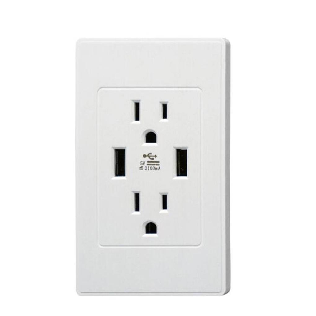 High Speed Wall Socket US Plug Dual USB Port Charger Wall Outlet Resistant  AC Socket Plate