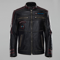 2018 New Men's Black edging motorcycle Leather jacket Fashion Embroidery Labeling Stand collar Biker Jacket Winter Coats S XXXL