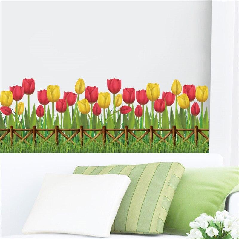 Tulip Flower Plant Wall Stickers Home Garden Window Kitchen Decoration  Living Room Bedroom DIY Mural Poster