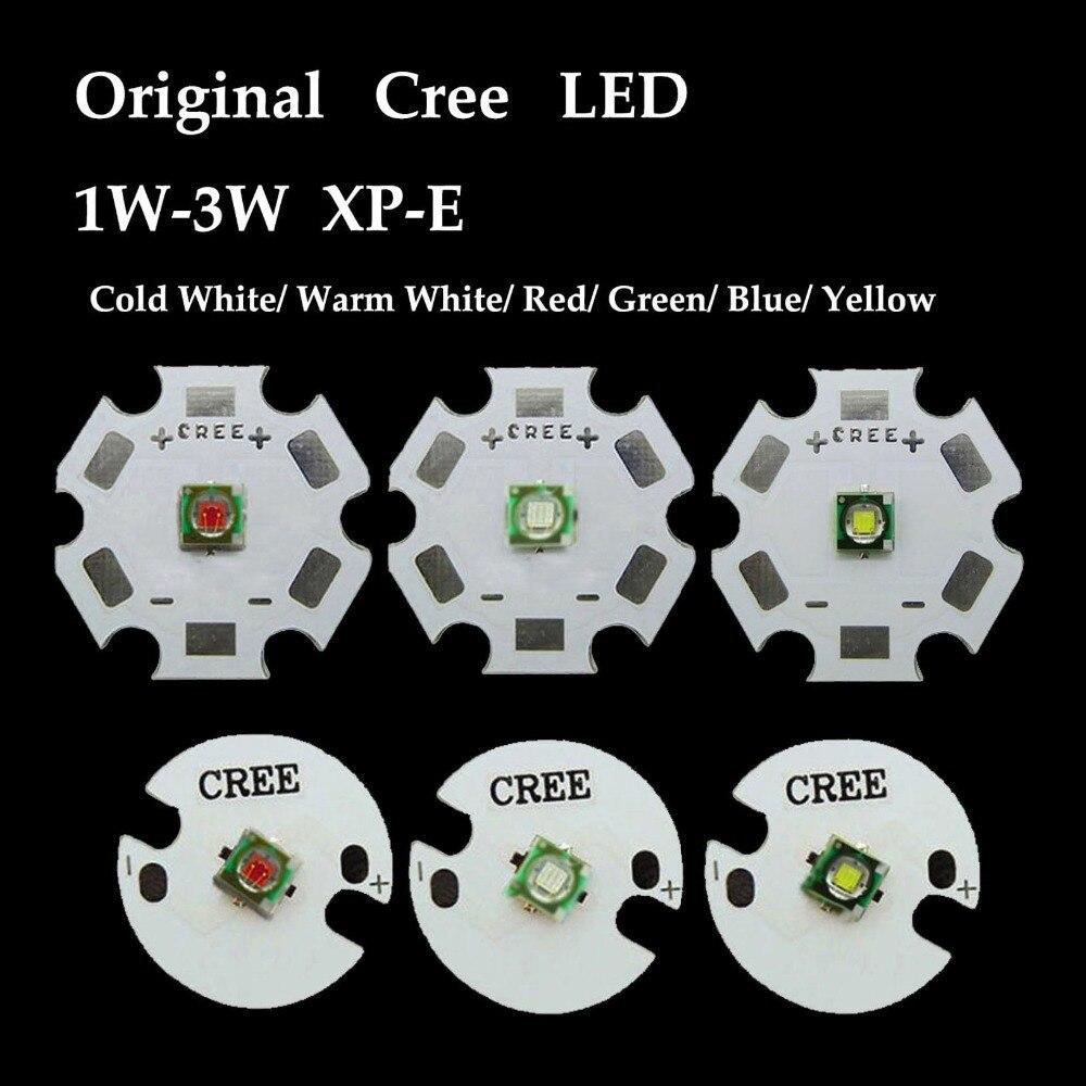 5PCS/lot  XPE XP-E 1W-3W Red Green Blue Royal Yellow Cool White Warm LED light With 20mm base
