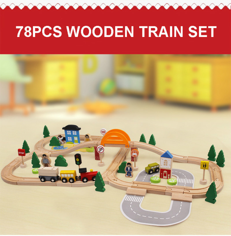 78pcs Children DIY Railway Car Toy Wooden Track Toys Puddle Jumper Assemble And Build Toys Set Birthday Gift For Kids