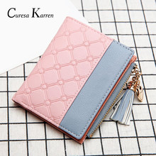 New ladies short wallet female zipper wallet fashion fresh Korean version of the large capacity tassel love stitching handbags(China)