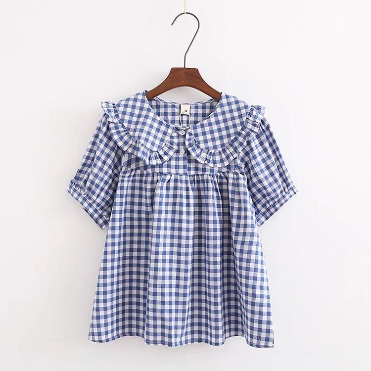 Chic Blue Beige Cotton Linen Plaid Curtains For Boys Bedroom: Aliexpress.com : Buy Preppy Lolita Style Women Shirts Tops