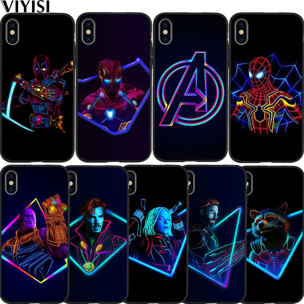 Luxury Marvel Avengers ซูเปอร์ฮีโร่ Deadpool Spider-Man สำหรับกรณี iPhone ของ Apple iPhone 7 8 6 6S plus 5 5S SE XS MAX XR ETUI Coque