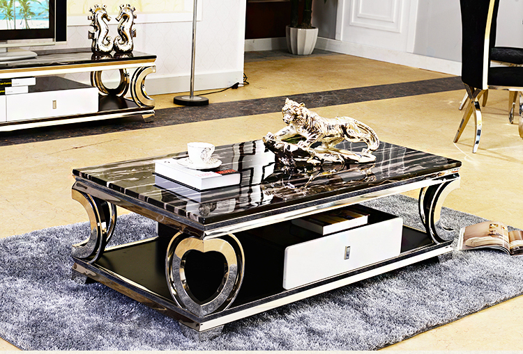 Natural Marble Stainless Steel Coffee Table Living Room Home Furniture Minimalist Modern Rectangle Mesas De Centro Table Basse