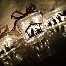 Nativity Scene Vinyl Sticker At the Manger Decal For Glass Block/Christmas Decoration