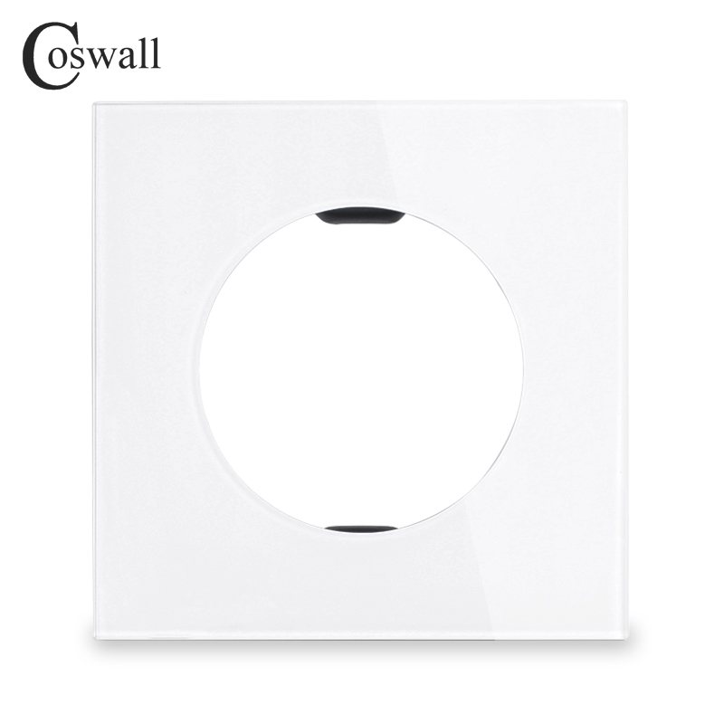 Coswall 2018 New Arrival Crystal Tempered Glass Blank Panel With Outlet Hole For Gather Outgoing Line White Panel