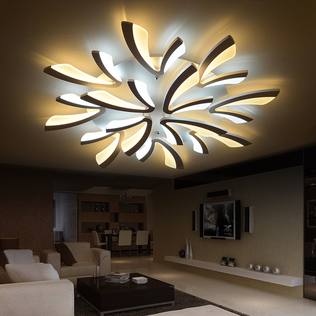 living room led lighting paint combinations for modern dimmable ceiling light large fittings bedroom home decor remote control