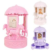 Carousel Music Box Photo Frames For Picture With Storage Box Desktop Decoration Photo Frame Family Baby