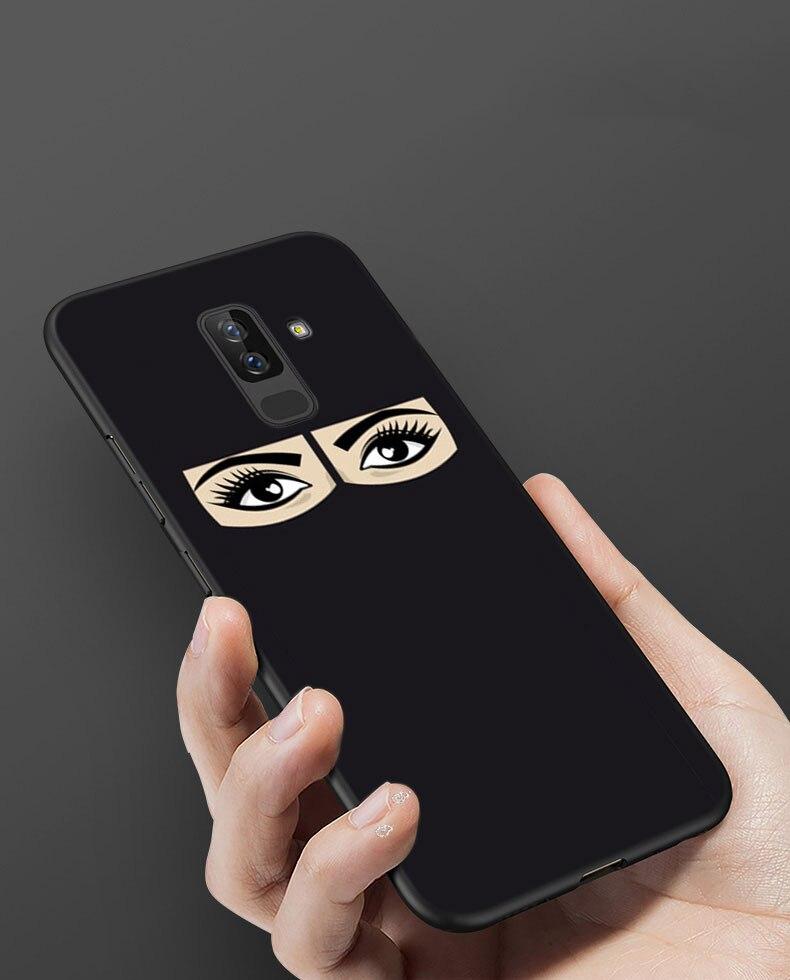 Arab girl Niqab Face girl Phone case for Samsung Galaxy J4 J6 Plus J8 2018 Soft Silicone Black Case for Galaxy A6 A8 Plus 2018