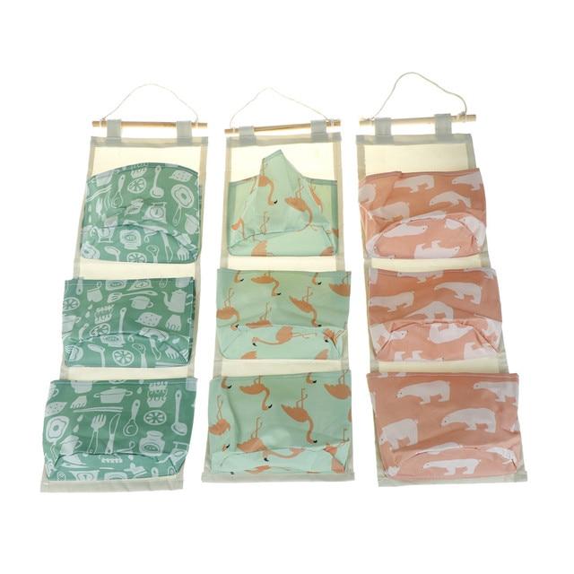 0fb7bc8725 Flamingo Pattern Cotton Linen Hanging Storage Bag 3 Pockets Wall Mounted  Wardrobe Hang Bag Wall Pouch Cosmetic Toys Organizer