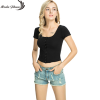 Moda Jihan New Women T Shirts Rib Knitted Cotton Deep Neck Short Sleeve T Shirts Ladies