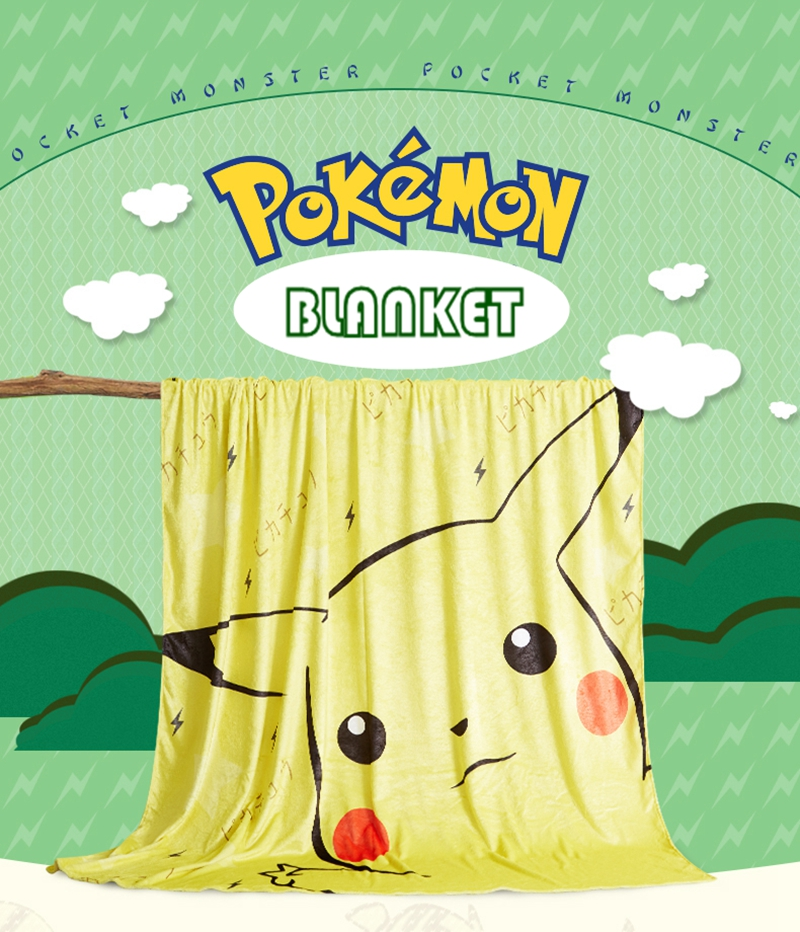 Anime Jk Japan Pikachu Tonari No Totoro Psyduck Madara Cosplay Flannel Blanket 1.5*2m Cartoon On Bed Plush Sleep Cover Bedding Costume Props Novelty & Special Use